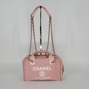 NEW CHANEL Deauville Pink Two Way Handbag Chain